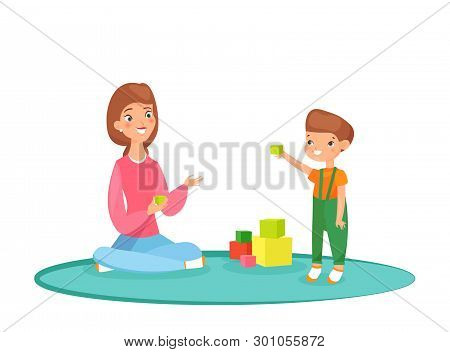 Vector Illustration Of Mom Playing Blocks With Her Son On The Carpet. Playing At Home, Time With Fam