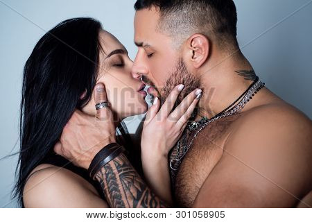 Dissolve Into Each Other. Couple In Love. Romantic Kiss And Love. Intimate Relationship And Sexual R