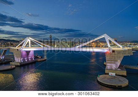 Barcelona, Spain - November 10, 2018: View Over The Bridge Porta Europa,  World Trade Center And Hot