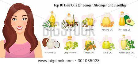 Top Ten Oils Vector Advertisement For Longer, Stronger And Healthy Hair. Vector Olive And Jojoba, Ca