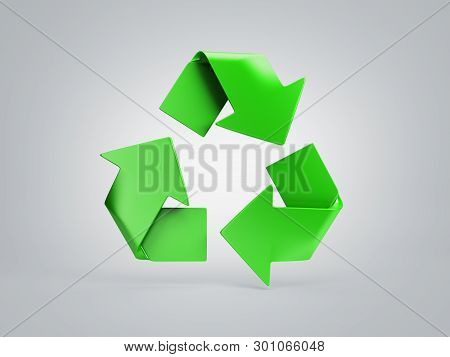 Volumetric Green Recycling Sign 3d Render On Grey Gradient