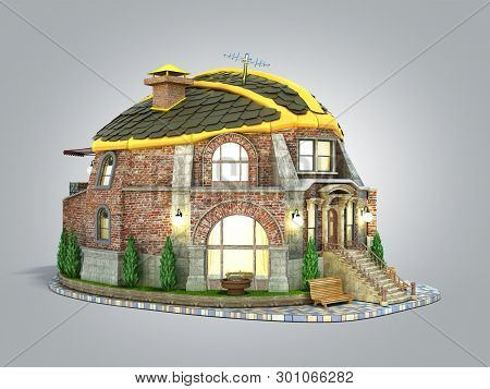 Construction Concept House In The Form Of A Construction Helmet 3d Render On Grey Gradient