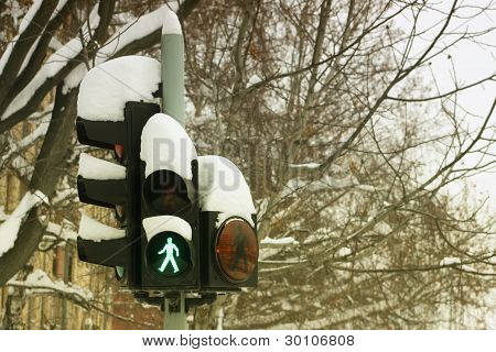 Traffic Light Under Snow