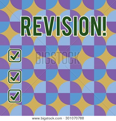 Conceptual hand writing showing Revision. Business photo showcasing action of revising over someone like auditing or accounting Sunburst, Explosion and Dart Board with Alternate Color Beam. poster