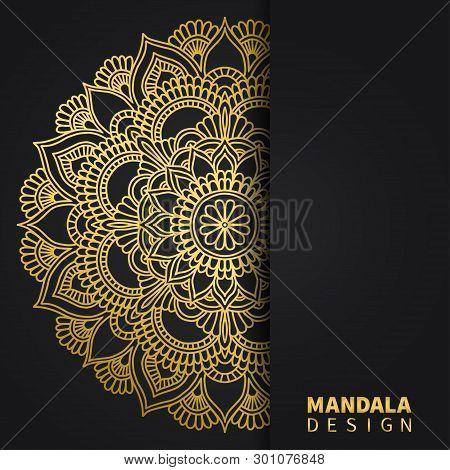 Golden Mandala Design. Ethnic Round Ornament. Hand Drawn Indian Motif. Unique Golden Floral Print. E