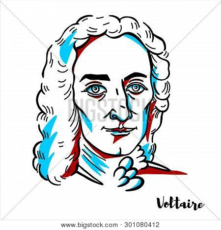 Voltaire Engraved Vector Portrait With Ink Contours. French Enlightenment Writer, Historian And Phil