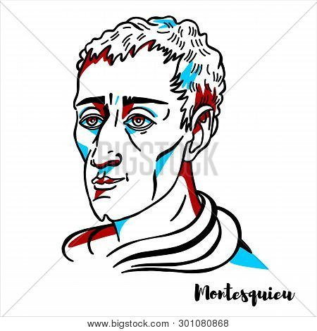 Montesquieu Engraved Vector Portrait With Ink Contours. French Judge, Man Of Letters, And Political