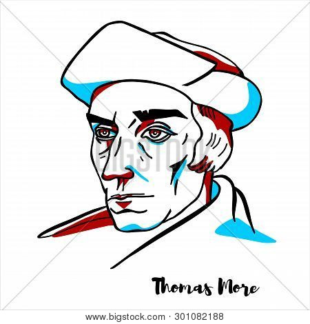 Thomas More Engraved Vector Portrait With Ink Contours. English Lawyer, Social Philosopher, Author,
