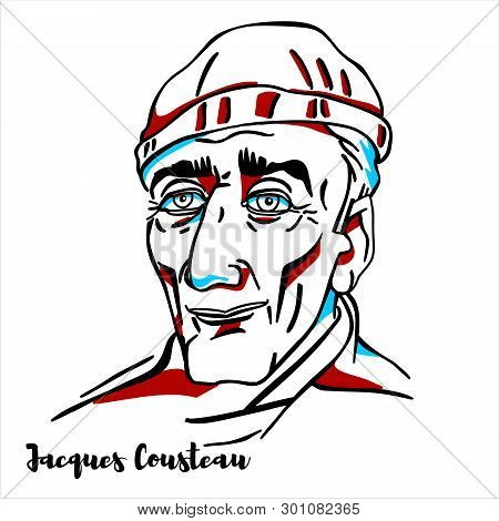 Russia, Moscow - March, 07, 2019: Jacques Cousteau Engraved Vector Portrait With Ink Contours. Itali
