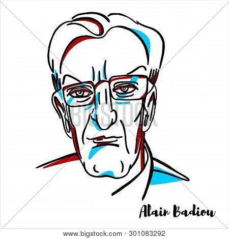 Russia, Moscow - March, 27, 2019: Alain Badiou Engraved Vector Portrait With Ink Contours. French Ph