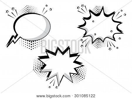 Set Black And White Comic Bubbles For Your Text. Comic Sound Effects In Pop Art Style. Sound Bubble