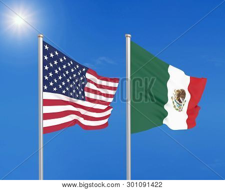 United States Of America Vs Mexico. Thick Colored Silky Flags Of America And Mexico. 3d Illustration