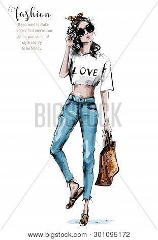 Hand Drawn Beautiful Young Woman Holding Bag With Leopard Print. Stylish Girl In Sunglasses. Fashion