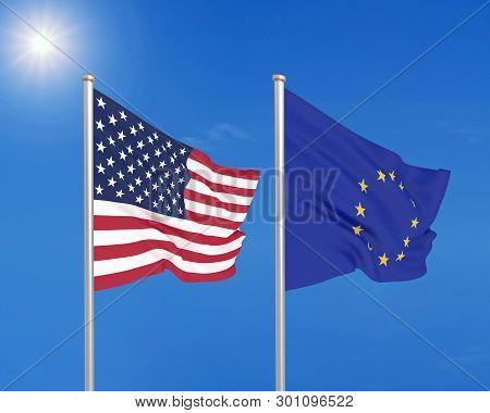United States Of America Vs European Union. Thick Colored Silky Flags Of America And European Union.