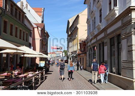 Meissen, Germany - May 5, 2019: Street View Of Meissen Old Town, Germany. Meissen Is A Medieval Town