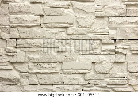 Close-up Of White Solid Limestone Wall Or Stone Fence. Abstract Copy Space Background, Bricklaying,