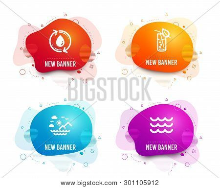 Liquid Badges. Set Of Sea Mountains, Refill Water And Water Glass Icons. Waves Sign. Summer Travel,