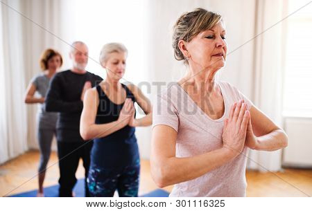 Group Of Senior People Doing Exercise In Community Center Club.