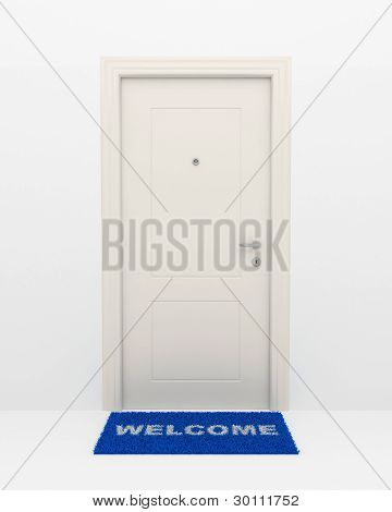 The White Door And Blue Rug.