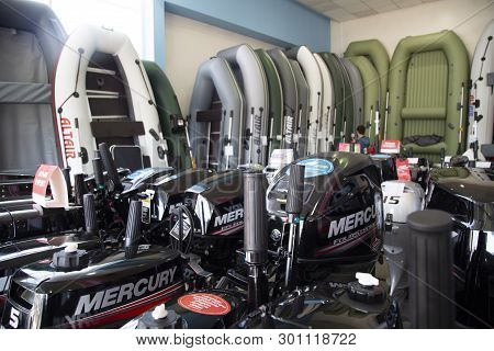 Syktyvkar, Komi / Russia, March 29, 2019 / New Boats And Motor Boats In A Specialized Store For Sale