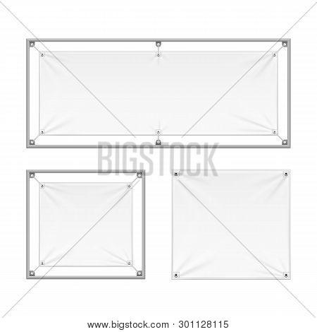 Mockup Wall Streamer Vinyl Flex Banner, Fabric, Nylon With Folds. Corners Ropes. Shield. Mock Up, Te