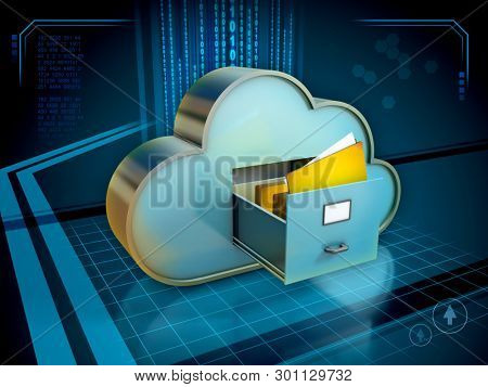 Cloud storage system with an open drawer and some folders. 3D illustration.