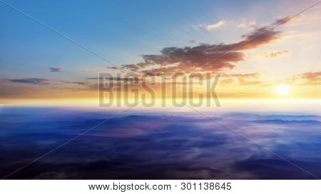 Beautiful Heavenly Landscape With The Sun In The Clouds . Paradise Heaven .  Light About The Sky . A