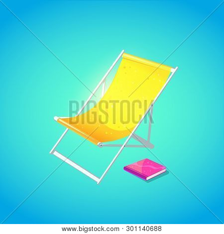 Cute Beach Chaise Longue In Bright Cartoon Style. Symbol Of Summer Vocations. Vector Illustration.