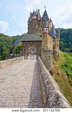 Moselkern, Germany - Aug 2018: Fairy Tale Medieval Castle, Burg Eltz Exterior From The Main Entrance
