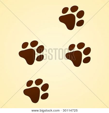 Brown Wildlife illustration of Animal trace on light brown background poster