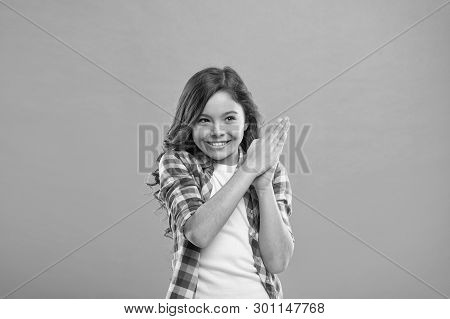 Little Child Smile Excited With New Idea Stand Over Blue Background. This Is The Point. Idea Solutio