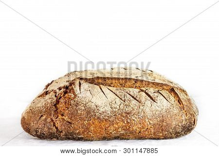 Loafs (or Miche) Of French Sourdough, Called As Well As Pain De Campagne, On Display Isolated On A W