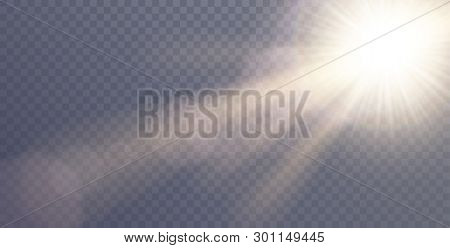 poster of Vector sunlight special lens flare light effect. Sun flash shining with rays and spotlight. Flares and gleams rounded and hexagonal shapes. Isolated on transparent background