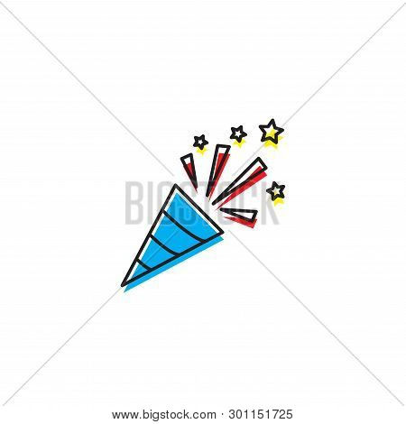 Confetti Popper Vector Icon Concept For Party, Isolated On White Background