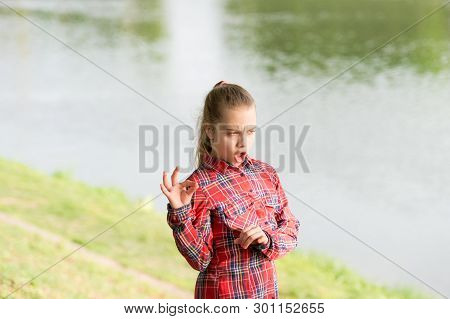 Calm And Peaceful. Life Balance. Peaceful Mood. Girl Little Cute Child Enjoy Peace And Tranquility A