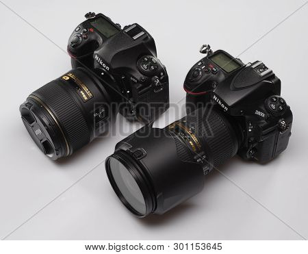Saint-petersburg, Russia - April 26, 2018: Nikon D850 And Nikon D800e Slr Cameras.