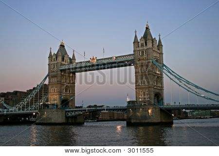 Looking Over At Tower Bridge As The Sun Sets