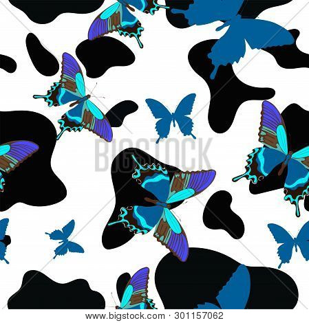 Black And White Cowhide Combined With Blue Butterflies, Seamless Pattern. Vector Image.