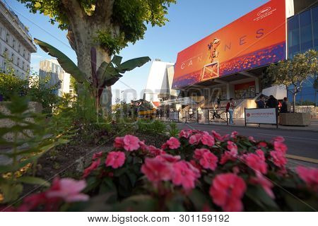 CANNES, FRANCE - MAY 13: A general view of street Palais de festival during the 72th Annual Cannes Film Festival on May 13, 2019 in Cannes, France