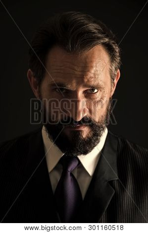 Beard Concept. Senior Business Man With Beard With Serious Look. Bearded Business Man With Beard On