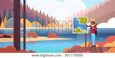 Female Tourist Hiker With Backpack Looking Travel Map African American Woman Traveler Planning Route