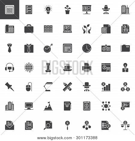 Office And Business Vector Icons Set, Modern Solid Symbol Collection, Filled Style Pictogram Pack. S