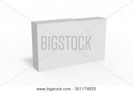 Blank box and slide trapezoid cover on isolated white background, mock up template for design presentation, 3d illustration poster