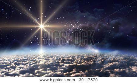 Space Night Yellow Star