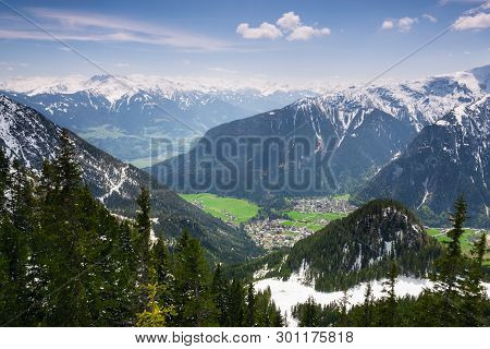 Mountain Range Nature Landscape. Mountain Layers Landscape. Springtime In Mountain Forest Landscape.