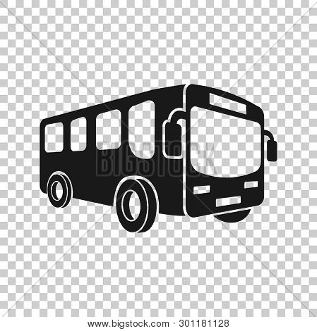 School Bus Icon In Transparent Style. Autobus Vector Illustration On Isolated Background. Coach Tran