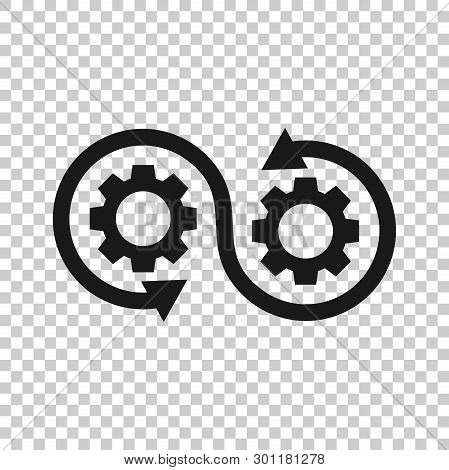Development Icon In Transparent Style. Devops Vector Illustration On Isolated Background. Cog With A