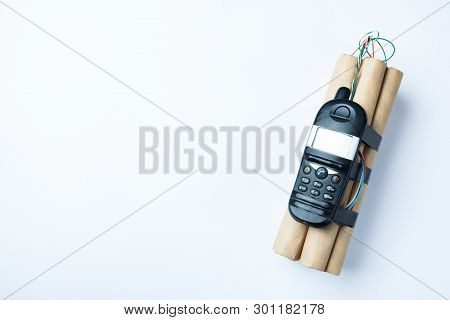 Terrorist Bomb With Electronic Mobile Phone, Copy Space.
