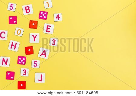 Kids Toys On Yellow Background With Toys Flat Lay Top View With Empty Center