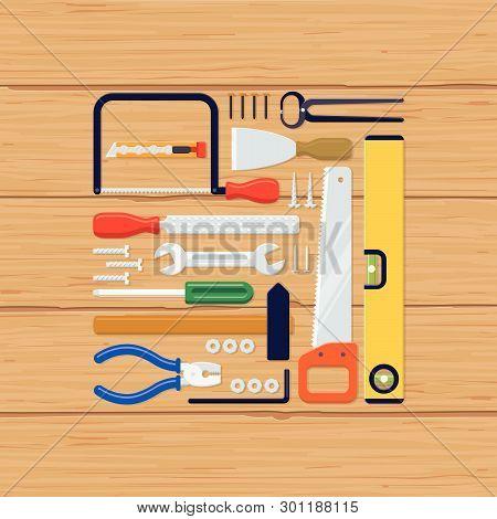 Flat Lay Vector Illustration Of Diy Tools